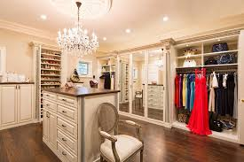 4 tags Traditional Closet with Crown molding, 19th C. Rococo Iron & Clear  Crystal Round Chandelier