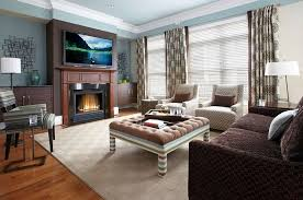 furnitures stunning living room with tufted coffee table and dark brown sofa on neutral modern
