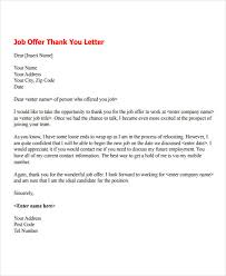Thank You Letter For Job Opportunity Examples 7 Job Offer Thank You Letter Templates Free Samples