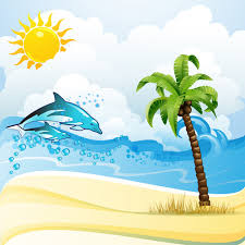 cartoon tropical beach vector