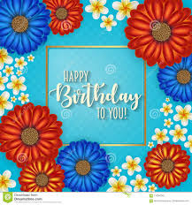 Birthday Flowers Background Design Birthday Card With Frame Decorated With Flowers And Vintage