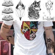 жесткие наклейки для тату для мужчин лесной волк временная татуировка на руку