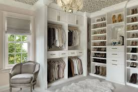 antique white custom painted walk in closet for her