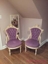 fabulous purple velvet seat antique wooden bedroom chairs with tufted backseat on wooden floors as well as stand mirror as classic bedroom decors