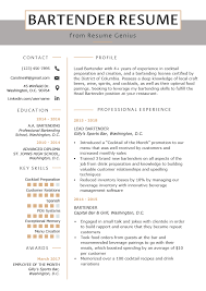 Bartender Resume Example Writing Guide Resume Genius