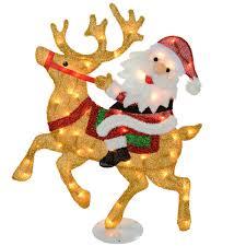 Reindeer Silhouette Lights Large Pre Lit Santa And Reindeer Silhouette With 50 Warm White Lights And Tinsel 91 Cm