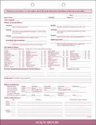 medical health history form health history form