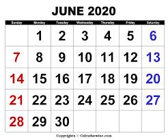 Download Free Blank Printable June 2020 Calendar Template
