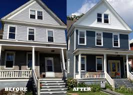before and after photo of house with siding
