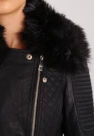 black river island nola motorcross biker faux leather jacket black womens clothing cm58913