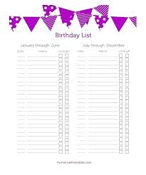 Medium Monthly Birthday Calendar Template Colorful List Free ...