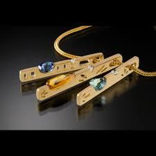 14k gold vertical slide pendants available in many fine gems