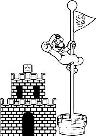 Super Mario Castle Pole Coloring Page Wecoloringpagecom