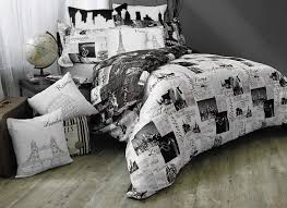 black and white new york city paris and london bedding