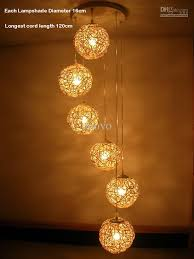 Living Room Pendant Lighting 6 Light Natural Rattan Woven Ball Stair Pendant Light Living Room