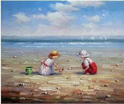 beach oil paintings children kids beach sand ocean sand oil