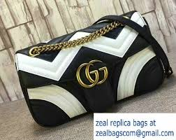 gucci 443497. gucci gg marmont matelasse chevron small chain shoulder bag 443497 black/white 2016 g