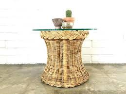 vintage rattan circle side table wicker end woven glass top round tablecloths