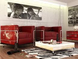 red black white contemporary living