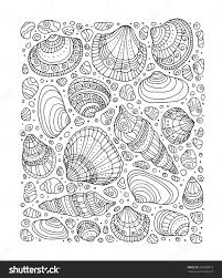 zentangle coloring book page for hand drawn artwork beach concept for restaurant menu card ticket branding logo label black white