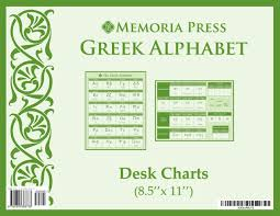 Greek Alphabet Desk Charts Memoria Press 9781615383733