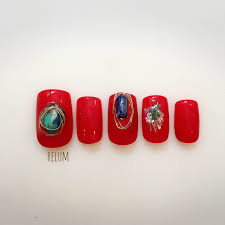 2016年夏赤とクリアの涼しげ派手ネイルデザインにしてみようネイル