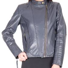 a light blue color fashion leather jacket for women