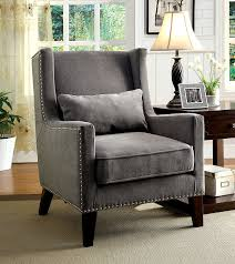 gray wingback chair. Grey Bedroom Chair Winged Parsons Studded Wingback Wing Fabric Velvet Classic Armchair Gray R