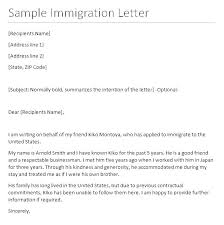 Cover Letter Examples Reference For A Friend Immigration With