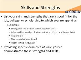 Strength Examples For Resume Under Fontanacountryinn Com