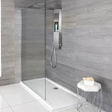 white walk in shower tray with floating screen and integrated shower head valve and storage
