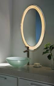 large round led illuminated bathroom mirror for putting make up