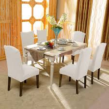 amazon subrtex stretch dining room chair slipcovers 4 creme jacquard home kitchen