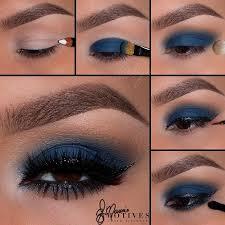 matte navy blue eye makeup look pictorial tutorial
