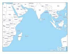 Oceano Indiano mappa gratuita, mappa muta gratuita, cartina muta gratuita  stati, nomi