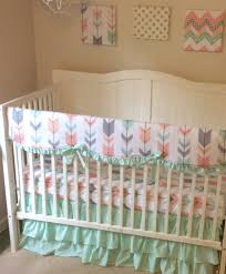 Mint Peach Coral and Gray Arrows Ruffled Crib Bedding Set