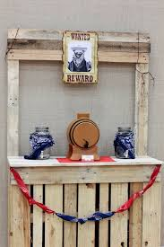 drink station from a western themed cub scout blue gold banquet via kara s party ideas