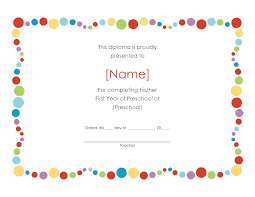 diploma word template pre k certificates of completion preschool award certificate style