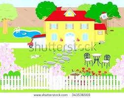 picket fence drawing. White Picket Fence House Cartoon Hand Drawn Sketch Illustration Of  Decorations In Spanish Picket Fence Drawing