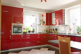 Superb Simple All Red Modern Kitchen With Small Dine In Table And Chairs Amazing Design