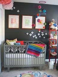 Colorful Baby Room Decorations Ideas: Dark And Colorful Baby Nursery Chic &  Cheap Nursery. I have no need for a nursery, but I love the dark walls and  pops ...