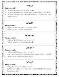 A Newspaper Article The 5ws Of A Newspaper Article Student Activity Handout