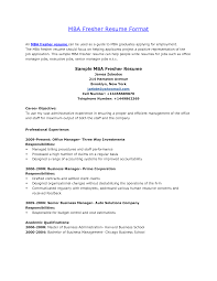 Sample Resume For Mba Finance Freshers