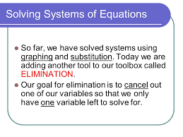 3 solving systems of equations so far we have solved systems using graphing and substitution