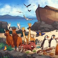 moose penguins giraffes on noah s ark mural
