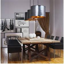industrial chic lighting. Industrial Chic. The Heavy, Polished Steel Drum Pendant Lights Hung By Chains Over Well-worn Wooden Table Give This Room A Beautiful Shine And Texture. Chic Lighting