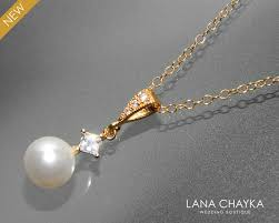white pearl gold necklace swarovski 8mm white pearl cz necklace single pearl wedding necklace small pearl necklace white pearl jewelry bride 23 50 usd