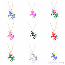 whole cute enamel unicorn necklace mixed cartoon rainbow horse choker silver gold chain childhood necklaces pendants for birthday gifts long pendant