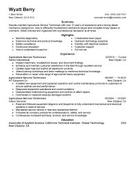 Excellent Agricultural Field Service Technician Resume Example