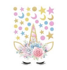 <b>Creative</b> Unicorn <b>Stars Wall</b> Stickers For Girls Bedroom Moon ...